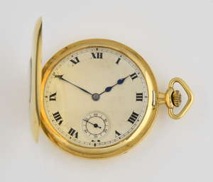 1920's gold cased half hunter pocket watch,18 ct with 15 jewel Swiss movement, secondary dial and black enamel Roman numerals to case
