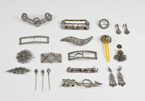 Cut steel collection, two pairs of Georgian tear drop shaped earrings, with hook fittings, three buckles, four brooches, three hat pins, crescent shaped hair pin with horn comb, a set of five floral shaped buttons and three other cut steel items