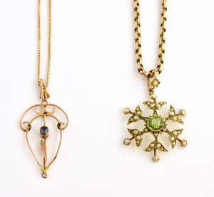 Two Edwardian pendants, peridot and seed pearl pendant, measuring 3.5 x 2.3 cm, with articulated bail, mounted in 9 ct gold, belcher chain, measuring 42 cm in length and sapphire set pendant in 9 ct rose gold, with box chain, measuring 54 cm in lengt