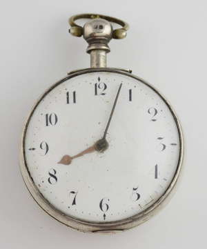 A George 4th silver pair cased pocket watch, the white enamel dial with Arabic numerals,gold hour hand and steel minute hand, The verge fusee movement numbered 36990,  intricately foliate engraved and  pierced balance bride. The case marked I M H and