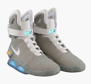 Nike Air Mag (Back to the Future), Multi-Colored/Multi-Color self lacing custom made shoes, 2016, Size 9 (UK 8), featuring light up panels, Original Box with Signed Numbered Plate Display and Charging accessories, Deadstock Plate signed by Tinker Hat