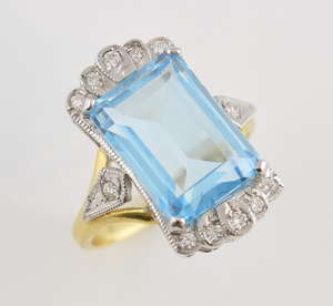eb9fef9c2fd Blue topaz and diamond cocktail ring