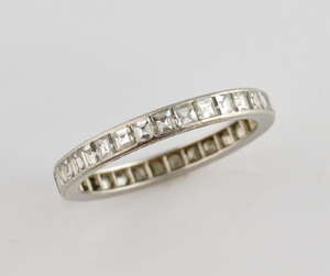 dc905538f3d Diamond eternity and platinum band ring set with square step cut diamonds
