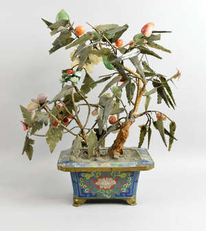2bb7714d842d 20th century Chinese jade and hardstone bonsai tree in cloisonne jardiniere