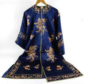 313d33427 Oriental style robe in blue silk with peach coloured embroidery of birds  and flowers with front
