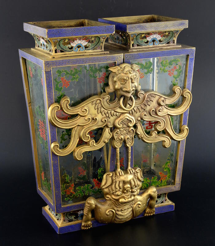 Chinese cloisonne marriage lantern