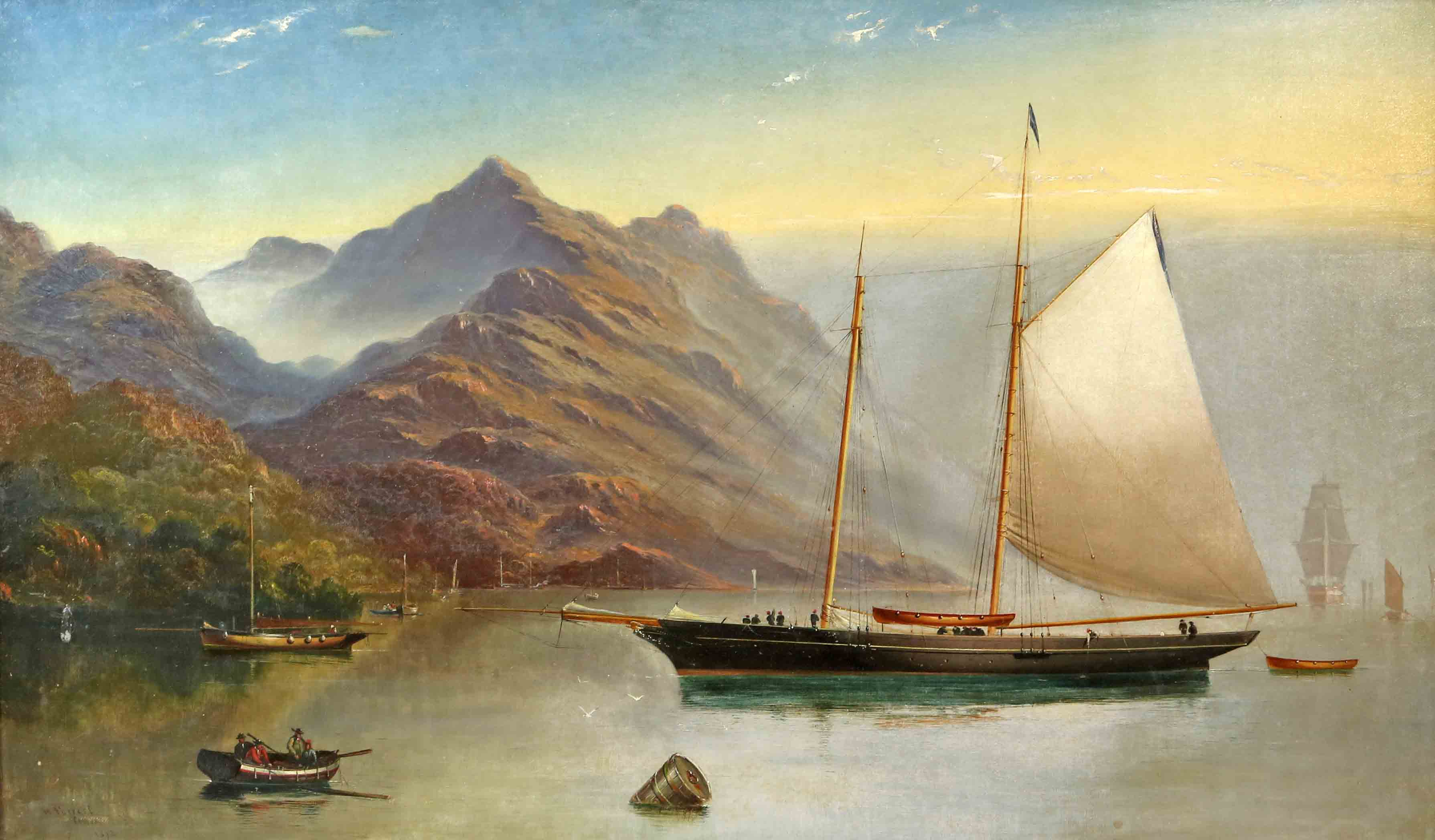 Haughton Forrest (Australian, 1826-1925). Tasmania, Schooner and other ships in a Bay against a mountainous landscape. Signed H. Forrest, Cowes, 1872. 44cm x 75cm. Estimate £1000-1500 at Ewbank's Auctions on March 19.
